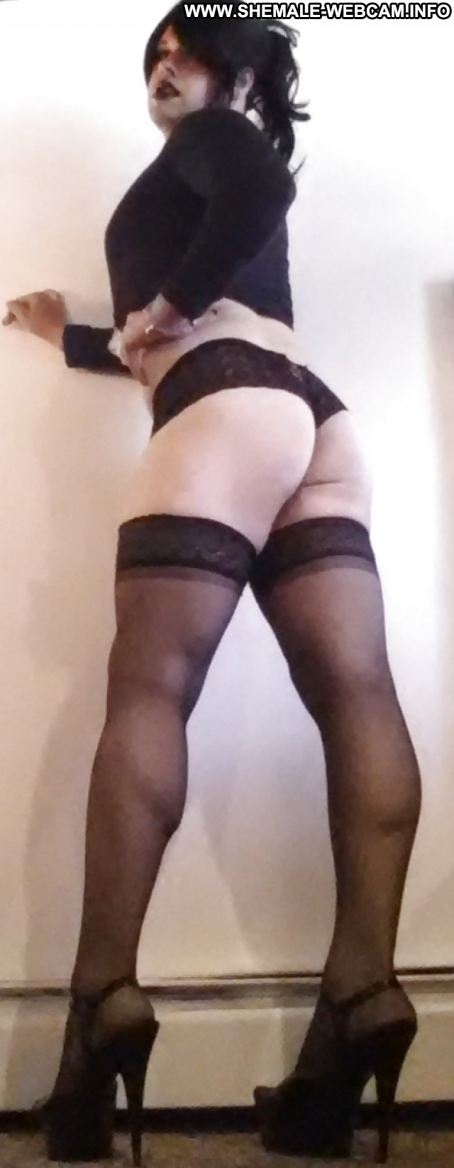 Shemale amateur in lingerie jerking her cock 8